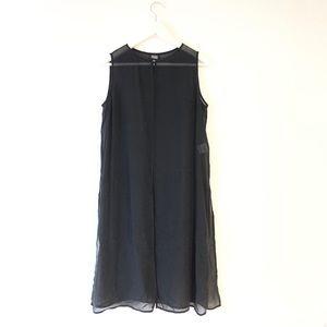 Eileen fisher sparkly silk slit tunic black S